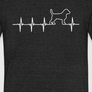 Beagle Dog Heartbeat Love - Unisex Tri-Blend T-Shirt by American Apparel