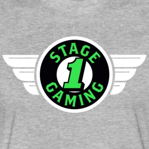 Authentic Stage 1 Gaming Tee - Black - Grey - Fitted Cotton/Poly T-Shirt by Next Level