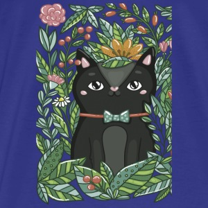 Stylish Cat with flowers - Men's Premium T-Shirt