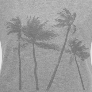 Palm Trees Graphic Tee - Women's Roll Cuff T-Shirt