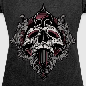 Ornamental Skull Boxy T-Shirt - Women's Roll Cuff T-Shirt