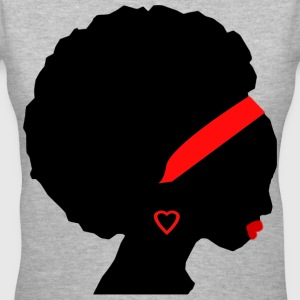 Afro- american woman in red - Women's V-Neck T-Shirt