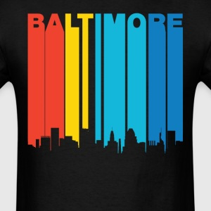 Retro 1970's Baltimore Maryland Skyline T-Shirt - Men's T-Shirt