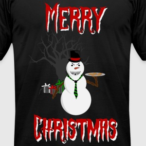 Merry Christmas Snowman - Men's T-Shirt by American Apparel