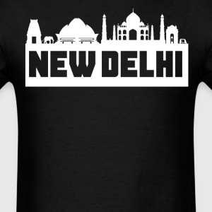 New Delhi India Skyline Silhouette - Men's T-Shirt