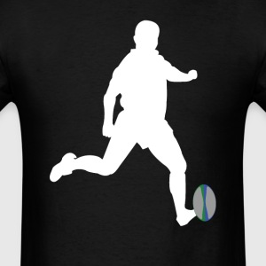 Rugby Player Kicking Ball Silhouette Cool Sports - Men's T-Shirt