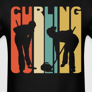 Retro 1970's Style Curlers Silhouette Curling - Men's T-Shirt