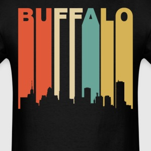Retro Buffalo New York Cityscape Downtown Skyline - Men's T-Shirt