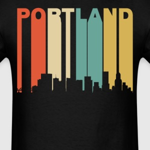 Retro Portland Oregon Cityscape Downtown Skyline - Men's T-Shirt
