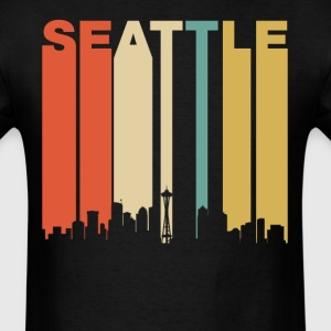 Retro Seattle Washington Downtown Skyline - Men's T-Shirt