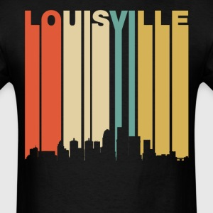 Retro 1970's Louisville Kentucky Downtown Skyline - Men's T-Shirt