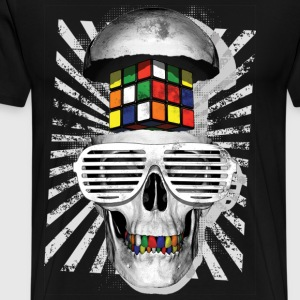 Rubik's Cube Skull With Sunglasses - Men's Premium T-Shirt