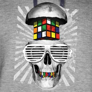 Rubik's Cube Skull With Sunglasses - Colorblock Hoodie