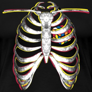 Rubik's Cube Colourful Ribcage - Women's Premium T-Shirt