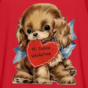 Valentine's Day,  Puppy with Red Heart  - Women's Flowy T-Shirt