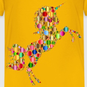 Prismatic Unicorn Silhouette 2 Circles 6 No Backg - Kids' Premium T-Shirt