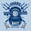 Vintage shark attack on helmet diver air hose t shirt for Dive bar shirt club promotion codes