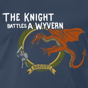 The Knight Battles a Wyvern Clean Version - Men's Premium T-Shirt