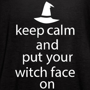 Halloween Keep Calm Witch Face Statement  - Women's Flowy Tank Top by Bella
