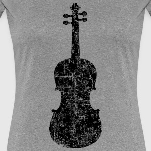 Violin Distressed White T-Shirts - Women's Premium T-Shirt