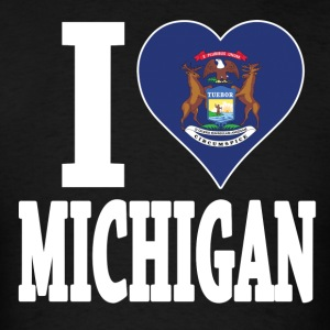 I love Michigan flag USA t-shirt - Men's T-Shirt