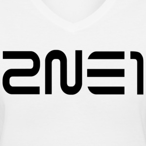 2NE1 Logo in Black Women's V-Neck - Women's V-Neck T-Shirt