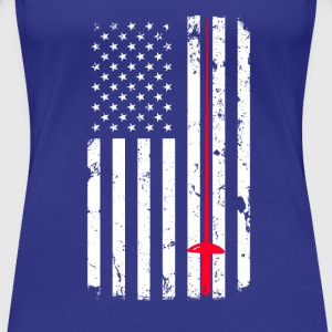 Fencing and American Flag design - Women's Premium T-Shirt