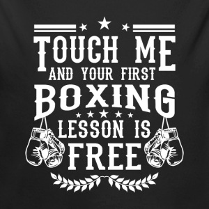 Touch me and your first boxing lesson is free Baby Bodysuits - Long Sleeve Baby Bodysuit