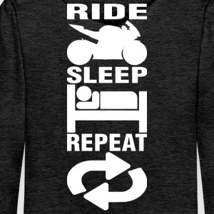 Ride - Sleep - Repeat (back) - Men's Premium Hoodie
