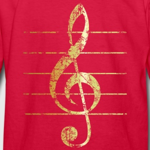 G-Clef - Treble Clef - Sheet Lines (Ancient Gold) Kids' Shirts - Kids' Long Sleeve T-Shirt