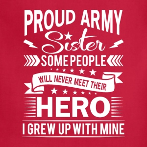 Proud Army Sister their hero i grew up with mine Aprons - Adjustable Apron