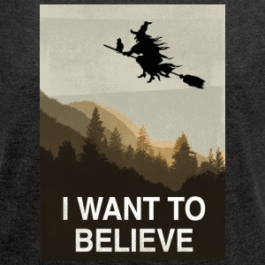 Halloween: I want to believe T-Shirts - Women's Roll Cuff T-Shirt