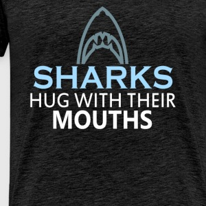 Sharks - Sharks hug with their mouths - Men's Premium T-Shirt