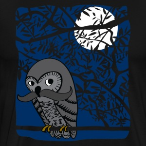 Owl with Mustache - Men's Premium T-Shirt