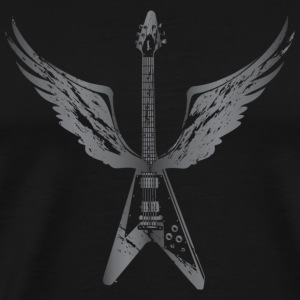 Flying V Guitar with Wings (Grey) - Men's Premium T-Shirt