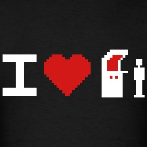 Black I Love (Heart) 8-Bit T-Shirts - Men's T-Shirt