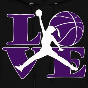 women's hooded love and basktball - Women's Hoodie