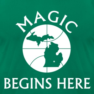 MAGIC BEGINS HERE GREEN - Men's T-Shirt by American Apparel