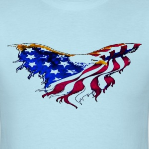 American Flag Eagle Flying Short Sleeve T-shirt - Men's T-Shirt