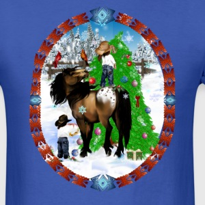A Horse and A Kid Christmas Oval - Men's T-Shirt