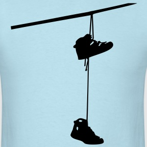 shoefiti shoes hanging bootlace shoelace lace streetart line cable T-Shirts - Men's T-Shirt