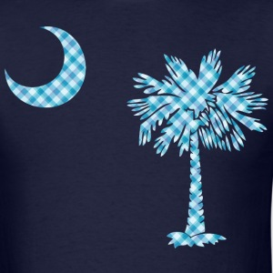 SC Palmetto State Flag - Blue Plaid - Men's T-Shirt