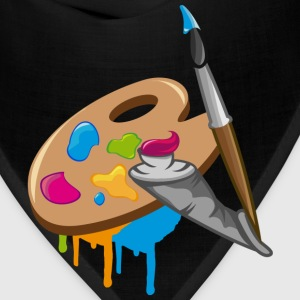 a Paint brush, colors and a painter's palette Long Sleeve Shirts - Bandana