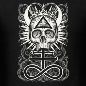 Illuminati Skull and Sulfur Cross Tanks - Men's T-Shirt