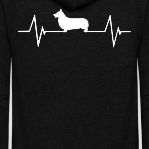 Pembroke Corgi  Heartbeat Love T-Shirt T-Shirts - Unisex Fleece Zip Hoodie by American Apparel