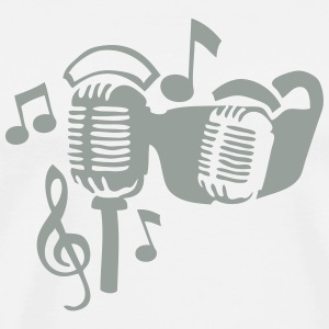 microphone vintage old music note sun T-Shirts - Men's Premium T-Shirt