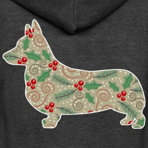 Christmas Holly Corgi T-Shirts - Unisex Fleece Zip Hoodie by American Apparel