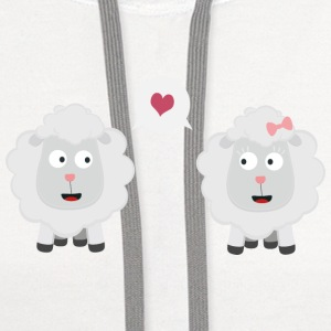 Sheeps in love with heart U7b4v Phone & Tablet Cases - Contrast Hoodie