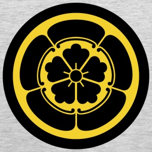 Oda Mon Japanese samurai clan yellow on black T-Shirts - Men's Premium Tank