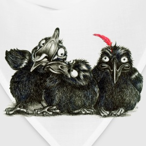 Three Crows With Red Feather - Bandana